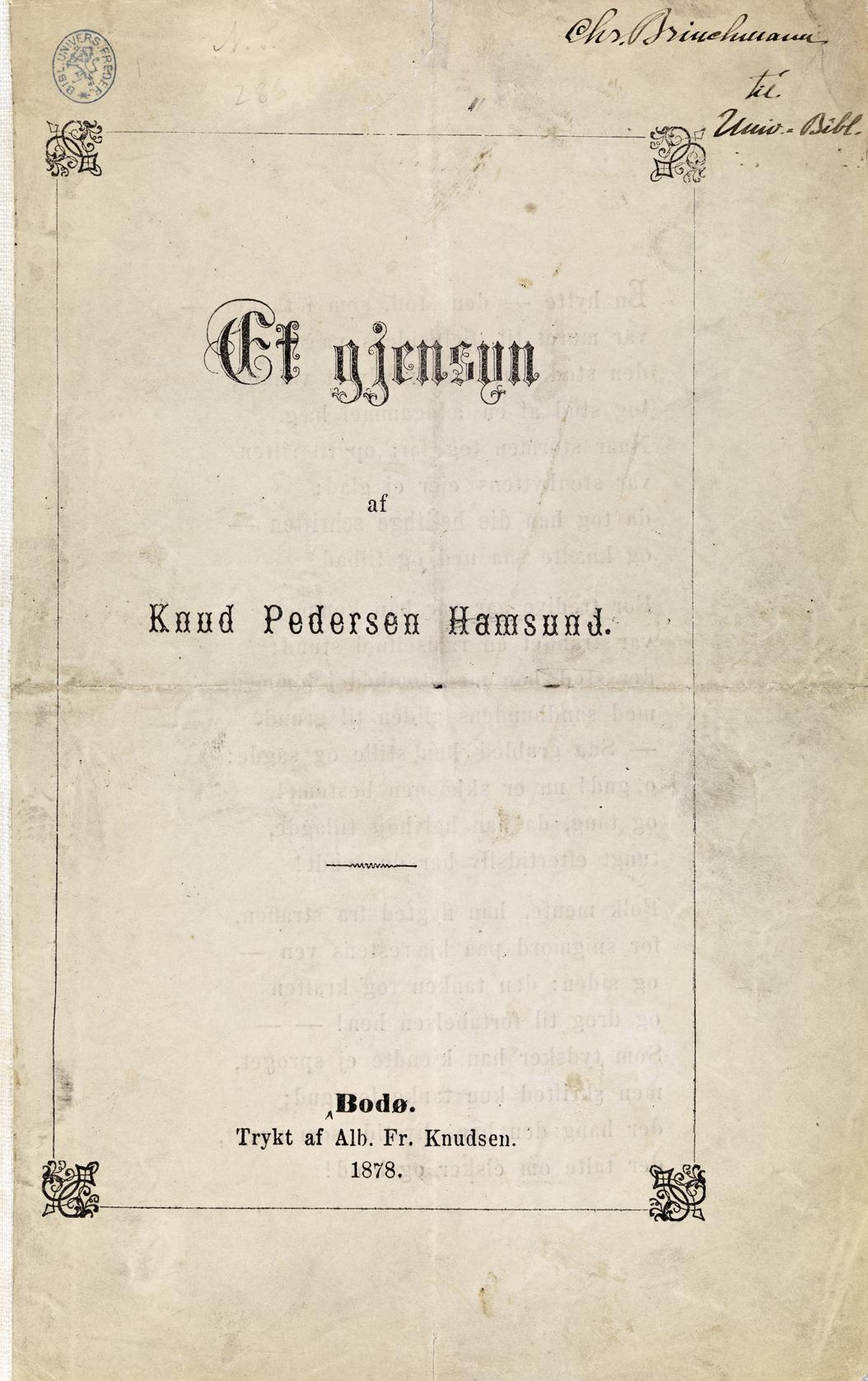 Knut Hamsun Et Gjensyn 1878