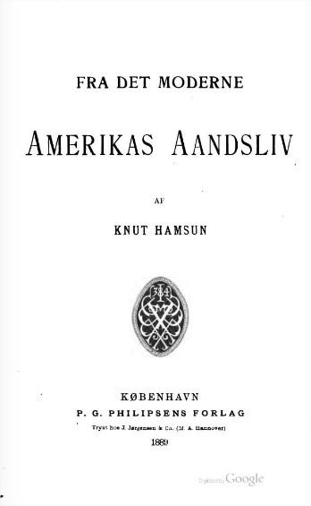 Fra det moderne Amerikas Aandsliv Knut Hamsun
